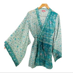 Lolita Jaca St. Barth silk boho floral kimono